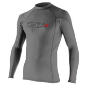 O'Neill Skins Hyperfreak Long Sleeve Crew Mens Rash Guard, Graphite-Black, medium