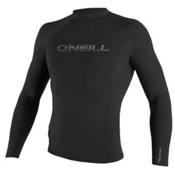 O'Neill Hammer Long Sleeve Crew Wetsuit Top 2016, Black-Black-Black, medium