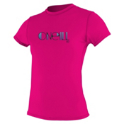 O'Neill Skins Short Sleeve Womens Rash Guard, Watermelon, medium