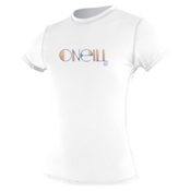O'Neill Skins Short Sleeve Womens Rash Guard, White, medium
