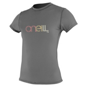 O'Neill 24/7 Tech Short Sleeve Crew Womens Rash Guard, Graphite, medium