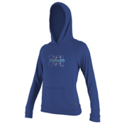 O'Neill 24/7 Tech Long Sleeve Hoodie Womens Rash Guard, Pacific, medium