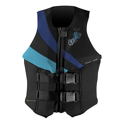 O'Neill Siren LS Womens Life Vest, Black-Pacific-Turquoise, viewer