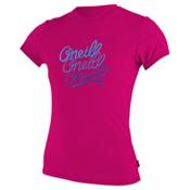 O'Neill Skins Short Sleeve Girls Rash Guard, Watermelon, medium