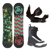 K2 Mini Turbo Stealth Militia Kids Complete Snowboard Package 2013, 100cm, medium