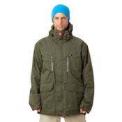 Quiksilver Piranha 5K Mens Shell Snowboard Jacket, Army Green, medium