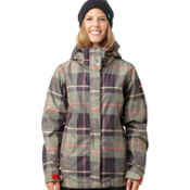 Roxy Jet Womens Insulated Snowboard Jacket, Military-Blush Plaid, medium