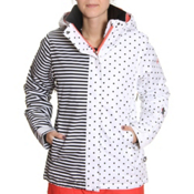 Roxy Jet Womens Insulated Snowboard Jacket, Black-White Stripes And Dots, medium