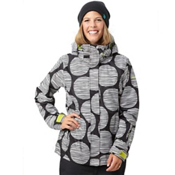 Roxy Jet Womens Insulated Snowboard Jacket, Black-White Follow The Sun, medium