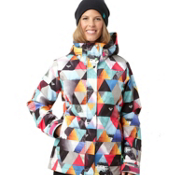 Roxy Jet Womens Insulated Snowboard Jacket, White Geometric Photoprint, medium