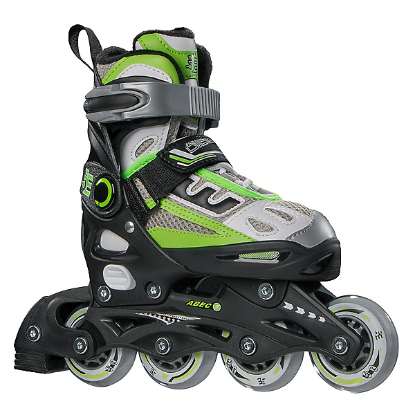 5th Element B2-100 Adjustable Kids Inline Skates, Black-Green, 600