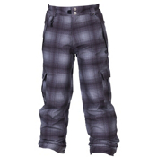 686 Mannual Ridge Plaid Kids Snowboard Pants, Grey Ombre Plaid, medium