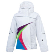 Spyder Jesst In Time Girls Ski Jacket, White-Gypsy-Green Flash, medium