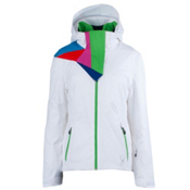 Spyder Power Womens Insulated Ski Jacket, White-Classic Green, medium
