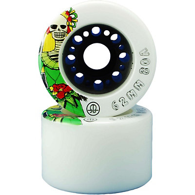 Rollerbones Day Of The Dead Roller Skate Wheels - 8 Pack, White, large