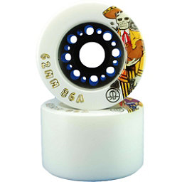 Rollerbones Day Of The Dead Roller Skate Wheels - 8 Pack, White-Yellow, 256