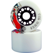 Rollerbones Day Of The Dead Roller Skate Wheels - 8 Pack, White-Red, medium