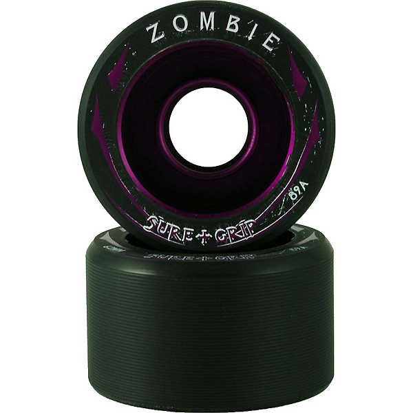 Sure Grip International Zombie Roller Skate Wheels - 8 Pack, Black-Purple, 600