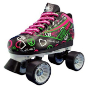 Pacer Heart Throb Womens Derby Roller Skates, Black, medium
