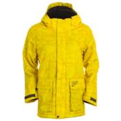 Obermeyer Oracle Parka Boys Ski Jacket, Acid Yellow Scramble Print, medium