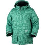 Obermeyer Oracle Parka Boys Ski Jacket, Pool Green Scramble Print, medium
