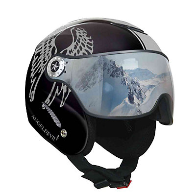 OSBE Proton Angel Devil Helmet, Matte Black-Silver Glitter, viewer