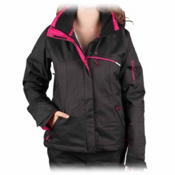 Salomon Express Womens Insulated Ski Jacket, Black-Fancy Pink-White, medium