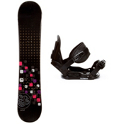 Swivel Sparkle Black Girls Snowboard and Binding Package, , medium