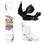 SLQ Party on the Snow Rocker Girls Complete Snowboard Package