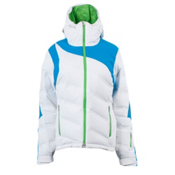 Spyder Aphrodite Womens Insulated Ski Jacket, White-Coast-Green Flash, medium