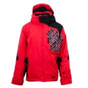Spyder Cosmos Boys Ski Jacket, Red-Black-Red Mosaic Print, medium