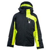 Spyder Defender Boys Ski Jacket, Black-Sharp Lime, medium