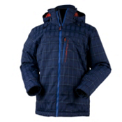 Obermeyer Stronghold Mens Insulated Ski Jacket, Royal Blue Plaid, medium