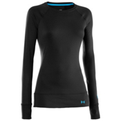 Under Armour Base 2.0 Crew Womens Long Underwear Top, Black, medium