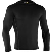 Under Armour Base 3.0 Crew Mens Long Underwear Top, Black, medium