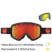 Dragon D1 Goggles, Jet-Red Ion+yellow Blue Ion + Bonus Lens, medium