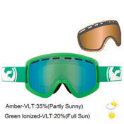 Dragon D1 Goggles, Solid Green-Green Ion+amber + Bonus Lens, medium