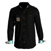 Icelantic Wool Button Up Flannel, Black, medium