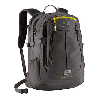 The North Face Surge II Charged Backpack, Graphite Grey-Sulpher Spring Green, large