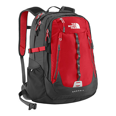 The North Face Surge II Backpack, TNF Red-Asphalt Grey, large