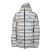 686 Mannual Etch Mens Insulated Snowboard Jacket, White Stripe, medium