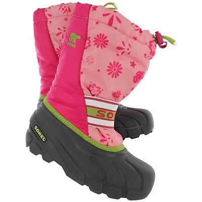Sorel Cub Graphic Youth Girls Boots, Coral Pink-Green Tea, viewer