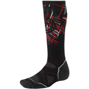 SmartWool PhD Snowboard Medium Snowboard Socks, Black-Crimson, medium