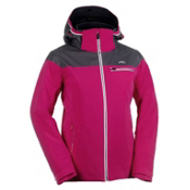 KJUS Vision Womens Insulated Ski Jacket, Pink Rose-Dark Grey Melange-White, medium