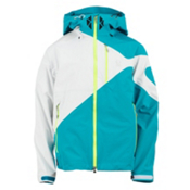 Spyder Eiger Mens Shell Ski Jacket (Previous Season), Tsunami-White-Bryte Green, medium