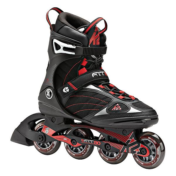K2 F.I.T. 80 Inline Skates, Black-Red, 600