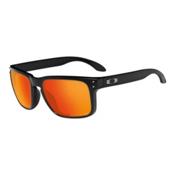 Oakley Holbrook Polished Black Sunglasses, Matte Black-Ruby Iridium Polarized, medium