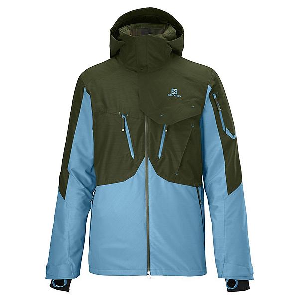 Salomon Cadabra 2L Mens Shell Ski Jacket, Bayou Green-Water Polo, 600