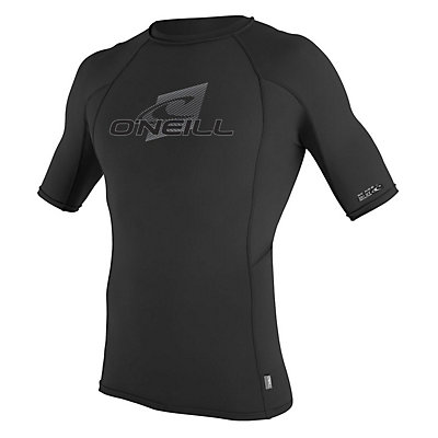 O'Neill Skins Short Sleeve Crew Mens Rash Guard, Black-Black-Black, viewer