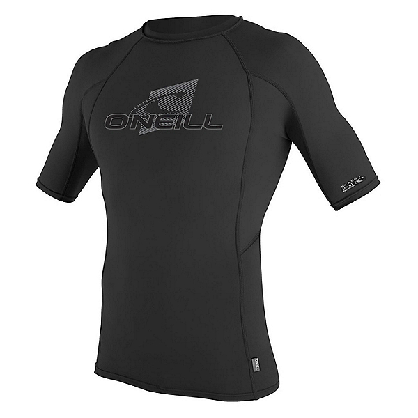 O'Neill Skins Short Sleeve Crew Mens Rash Guard, Black-Black-Black, 600